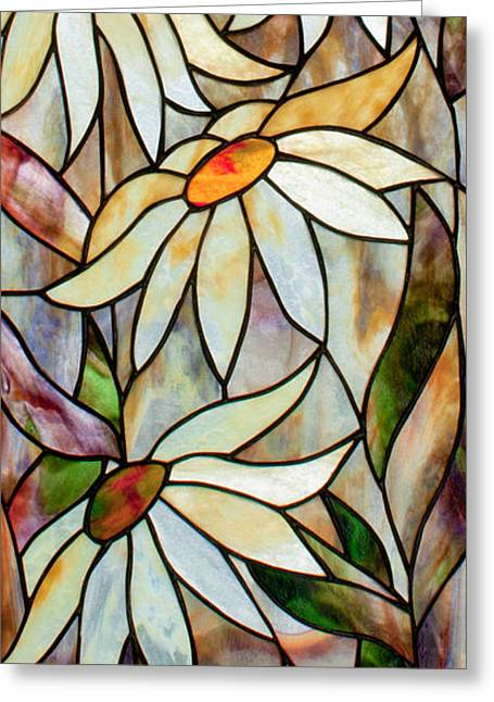 Art Nouveau Glass Art Greeting Cards - Daisys Greeting Card by David Kennedy