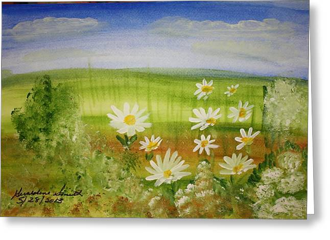 Daisies Pastels Greeting Cards - Daisys in the field Greeting Card by Geraldine Smith
