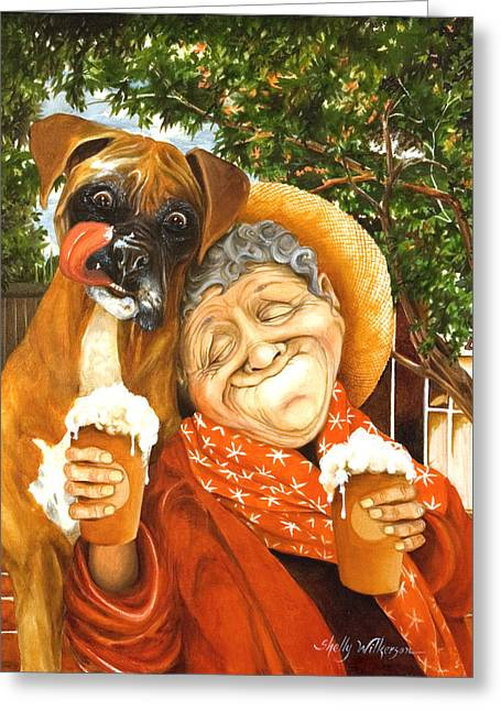 Boxer Dog Greeting Cards - Daisys Mocha Latte Greeting Card by Shelly Wilkerson