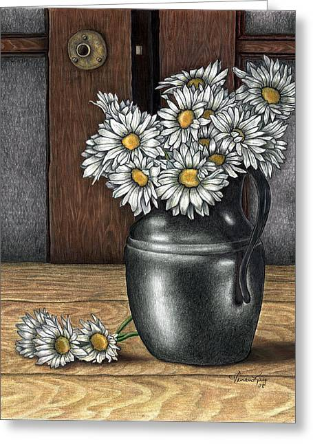 Still Life With Pitcher Drawings Greeting Cards - Daisys Vase Greeting Card by Vivian Mosley