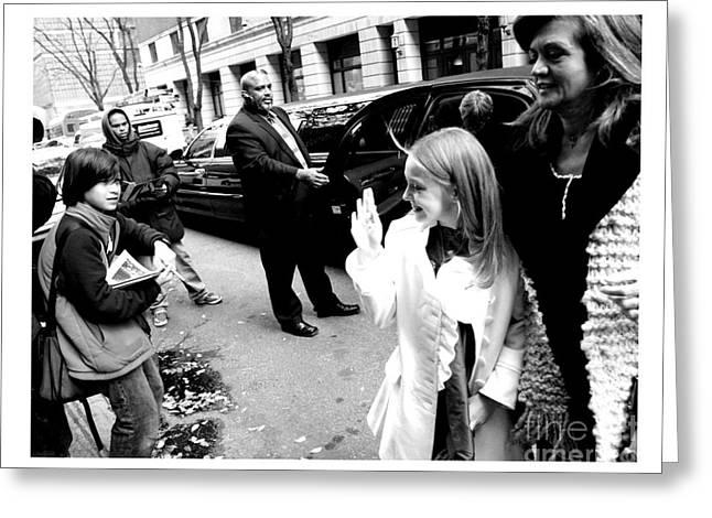 Dakota Fanning Greeting Cards - Dakota Fanning Waves To A Young Fan In Nyc 2007 Greeting Card by Patrick Morgan