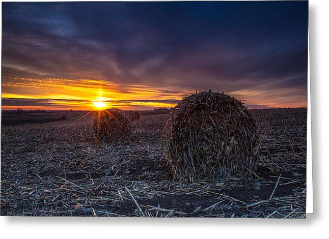 Bale Greeting Cards - Dakota Sunset Greeting Card by Aaron J Groen
