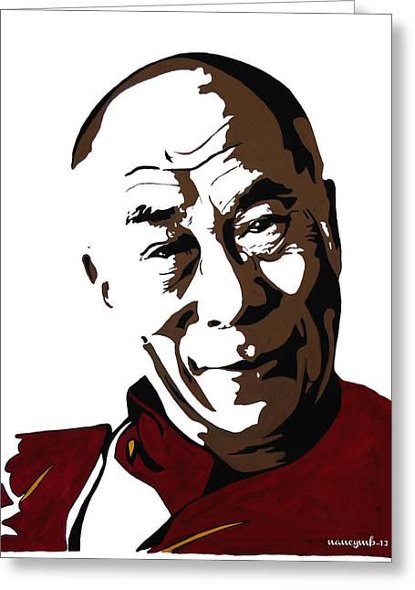 Tibetan Buddhism Mixed Media Greeting Cards - Dalai Lama Greeting Card by Nancy Mergybrower