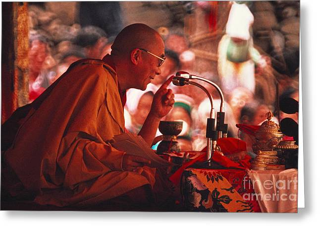 Famous People Photographs Greeting Cards - Dalai Lama, Nobel Prize 1989 Greeting Card by Kazuyoshi Nomachi