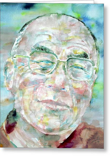 Tibetan Buddhism Greeting Cards - DALAI LAMA - watercolor portrait Greeting Card by Fabrizio Cassetta