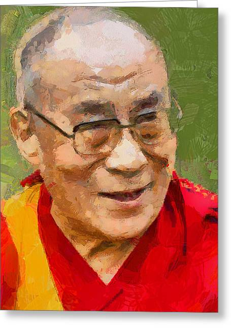 Live Art Greeting Cards - Dalai Lama Greeting Card by Yury Malkov