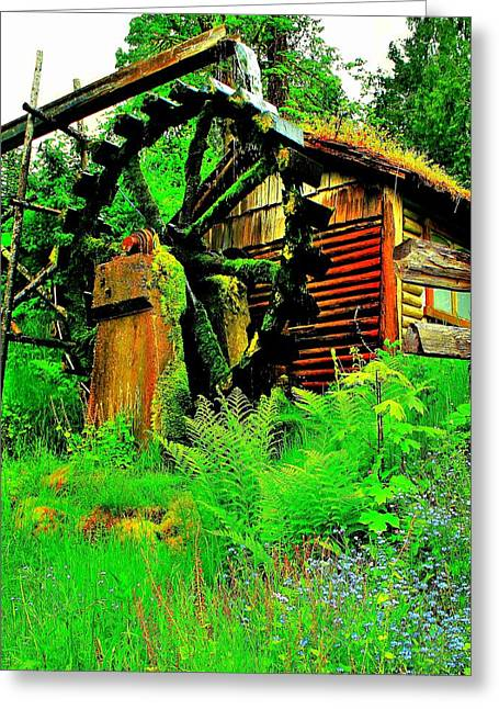 Lush Green Greeting Cards - Dalby Water Wheel Greeting Card by Benjamin Yeager