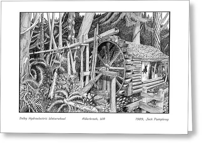 First-family Drawings Greeting Cards - Dalby Waterwheel Hood Canal W A Greeting Card by Jack Pumphrey