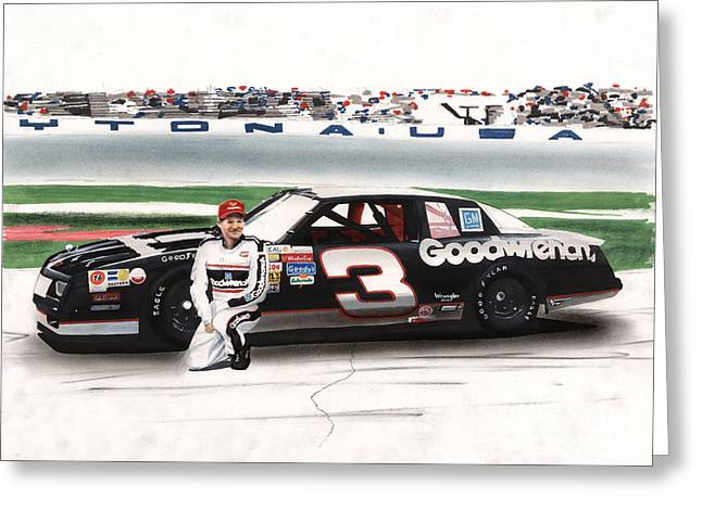 Knelt Drawings Greeting Cards - Dale Earnhardt Goodwrench Monte Carlo Greeting Card by Paul Kuras