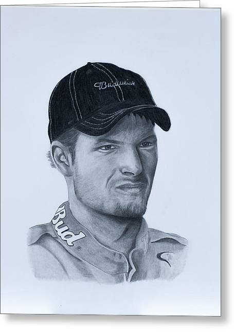 Ford Sprints Greeting Cards - Dale Earnhardt Jr. Greeting Card by Billy Burdette