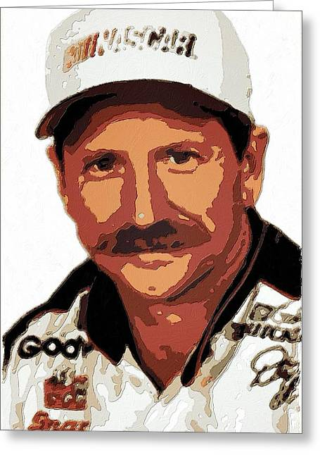 Earnhardt Digital Greeting Cards - Dale Earnhardt Poster Art Greeting Card by Florian Rodarte