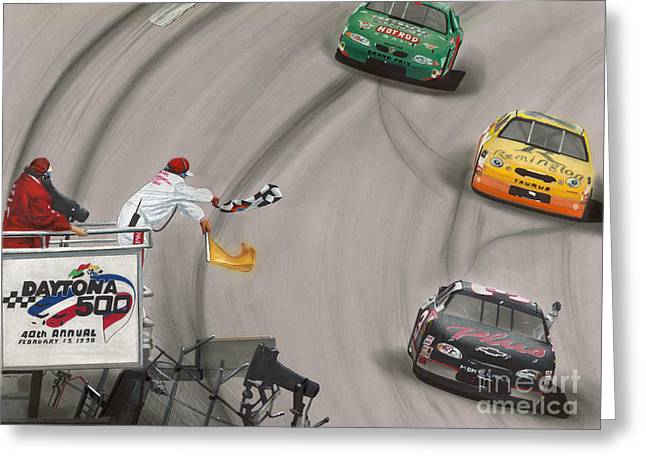 Tire Greeting Cards - Dale Earnhardt wins Daytona 500-Checkered Flag Greeting Card by Paul Kuras