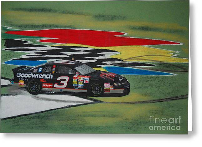 Lumen Greeting Cards - Dale Earnhardt Wins Daytona 500-Infield Doughnuts Greeting Card by Paul Kuras