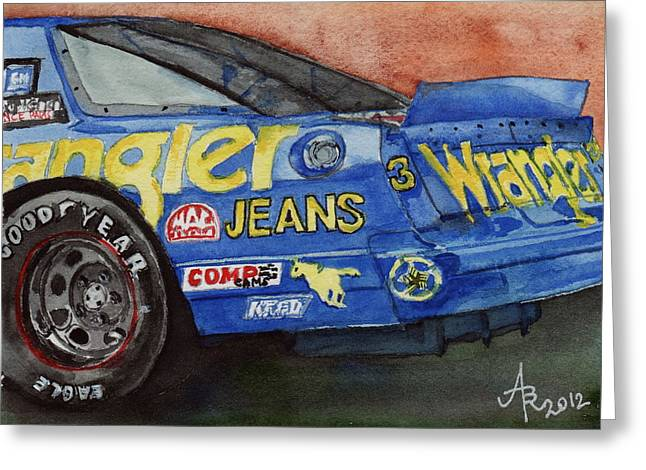 1987 Paintings Greeting Cards - Dale Earnhardts 1987 Chevrolet Monte Carlo Aerocoupe No. 3 Wrangler  Greeting Card by Anna Ruzsan