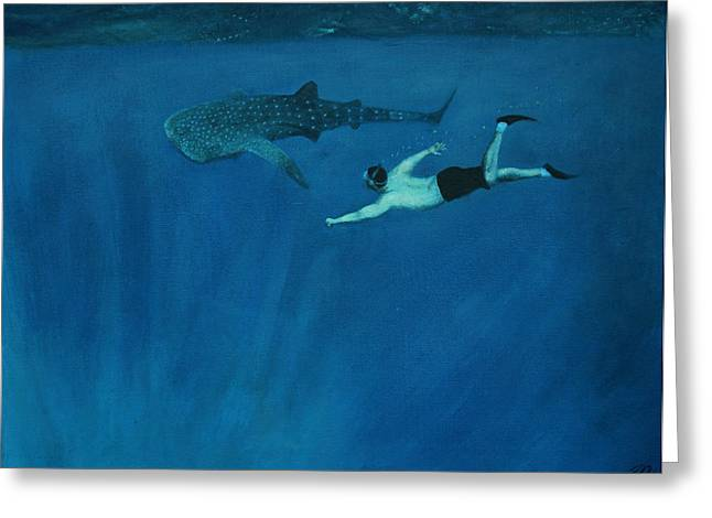 Snorkel Greeting Cards - Dale vs. The Whale Shark Greeting Card by Patrick Kelly