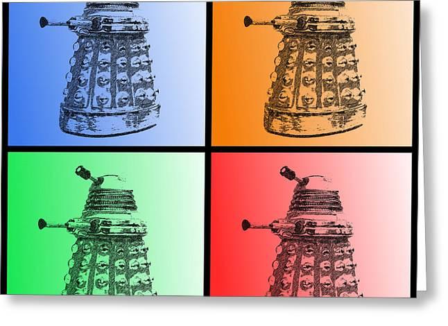 Sec Greeting Cards - Dalek Pop Art Greeting Card by Richard Reeve