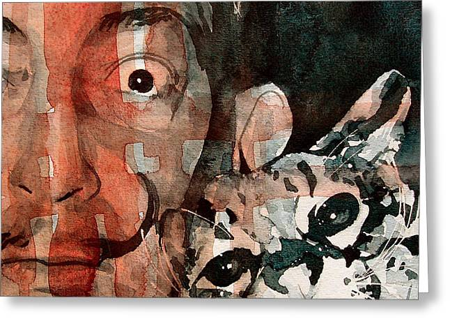 Dali Greeting Cards - Dali and his cat Greeting Card by Paul Lovering