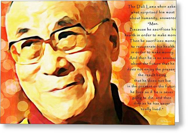 Dali Lama And Man Greeting Card by Barbara Chichester