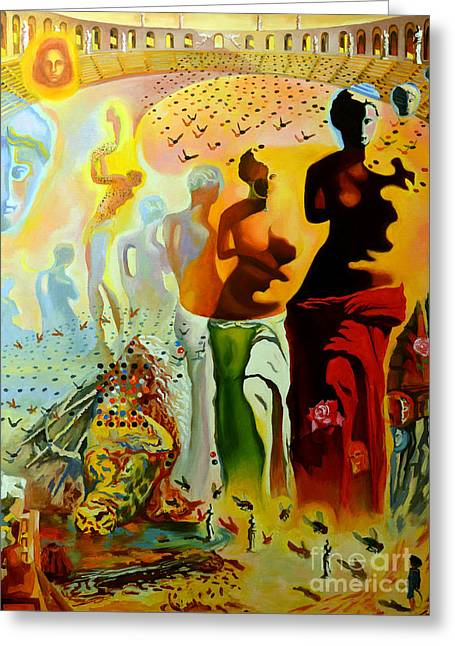 Red Eye Greeting Cards - Dali Oil Painting Reproduction - The Hallucinogenic Toreador Greeting Card by Mona Edulesco