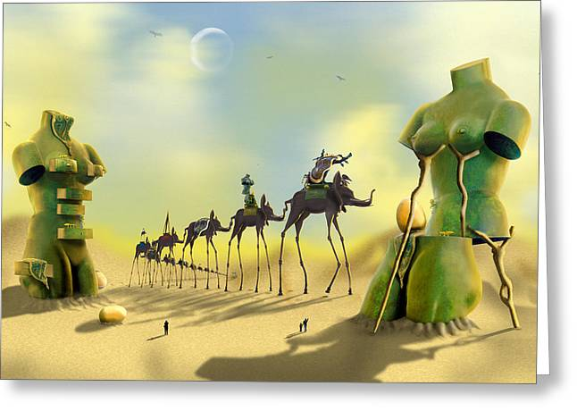 Birds Moon Greeting Cards - Dali on the Move  Greeting Card by Mike McGlothlen