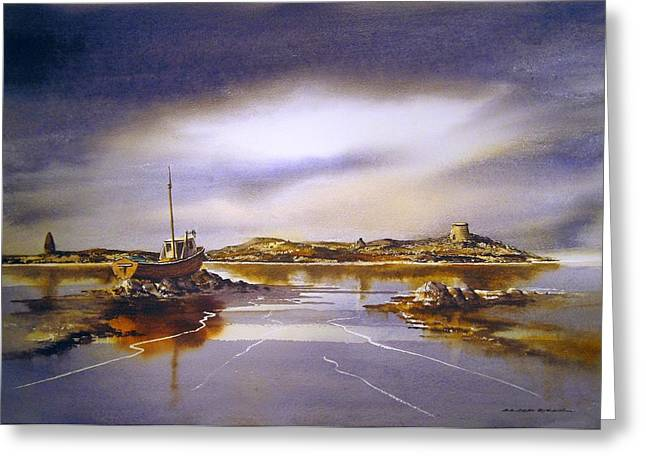 Southside Paintings Greeting Cards - Dalkey Island Dawn Greeting Card by Roland Byrne