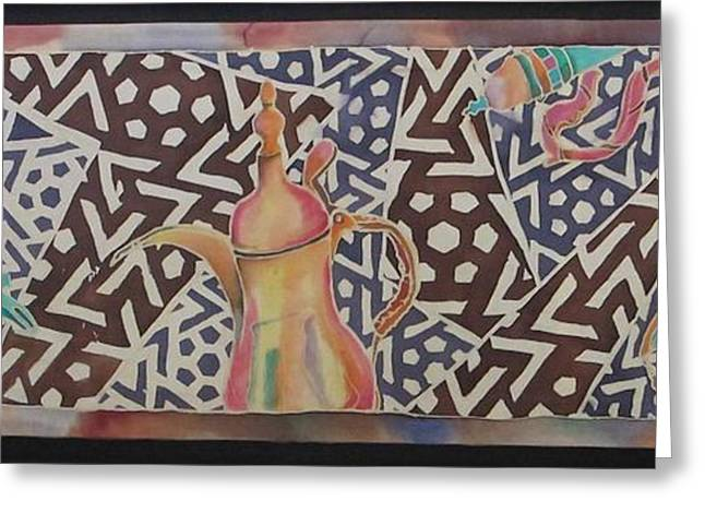 Dallah and Arabesque Motif Greeting Card by Beena Samuel