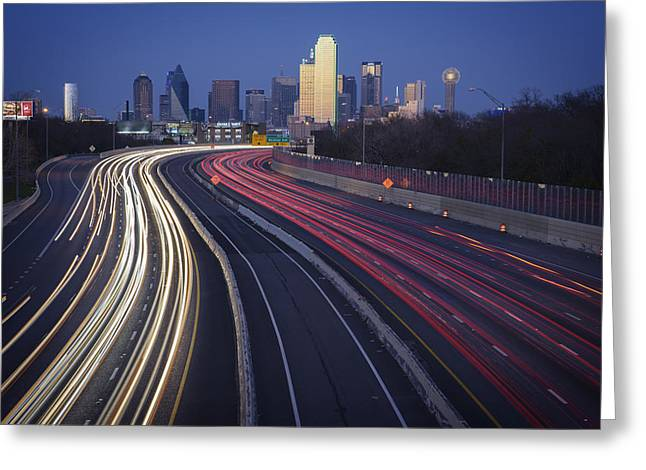 Dallas Skyline Greeting Cards - Dallas Afterglow Greeting Card by Rick Berk