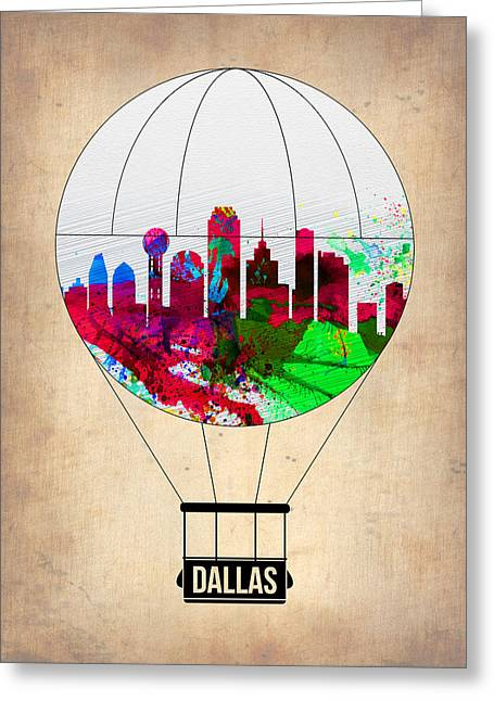 Airports Greeting Cards - Dallas Air Balloon Greeting Card by Naxart Studio