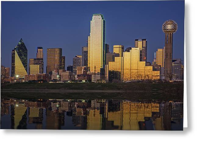 Highway Lights Greeting Cards - Dallas at Dusk Greeting Card by Rick Berk