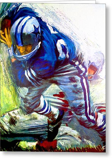 Running Back Paintings Greeting Cards - Dallas Cowboys 1966 Vintage Print Greeting Card by Big 88 Artworks