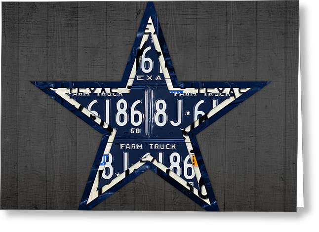 Football Mixed Media Greeting Cards - Dallas Cowboys Football Team Retro Logo Texas License Plate Art Greeting Card by Design Turnpike