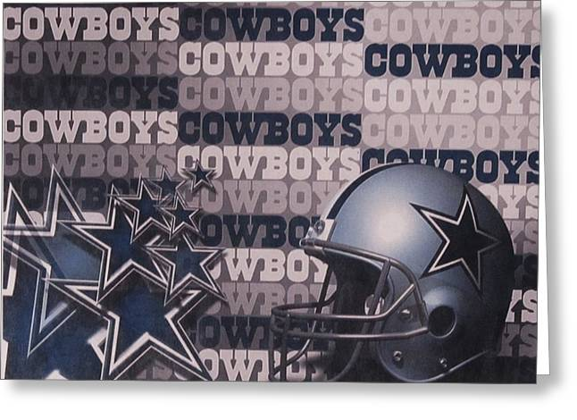 Cowboys Cheerleaders Greeting Cards - Dallas Cowboys Helmet and Stars Greeting Card by Donna Wilson