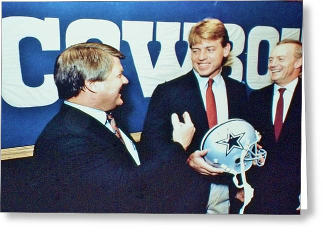 Dallas Cowboys Jimmy Johnson Troy Aikman Jerry Jones Greeting Card by Donna Wilson