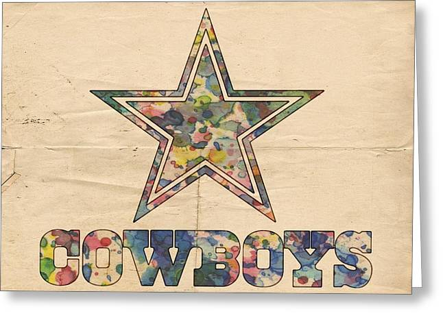 Nfl Greeting Cards - Dallas Cowboys Vintage Art Greeting Card by Florian Rodarte