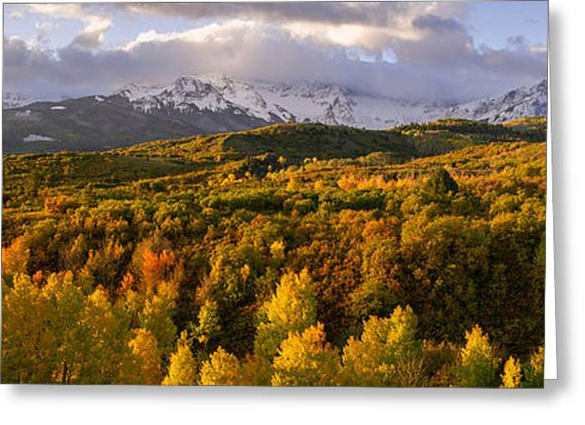 Dallas Divide Sunrise Panorama Greeting Card by Aaron Spong