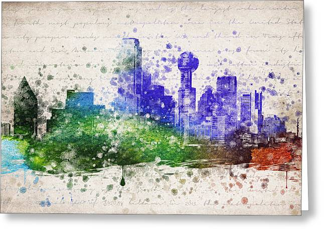 Dallas Skyline Greeting Cards - Dallas in Color Greeting Card by Aged Pixel