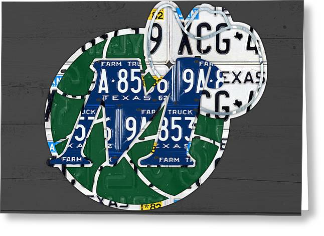 Basketball Team Greeting Cards - Dallas Mavericks Basketball Team Retro Logo Vintage Recycled Texas License Plate Art Greeting Card by Design Turnpike