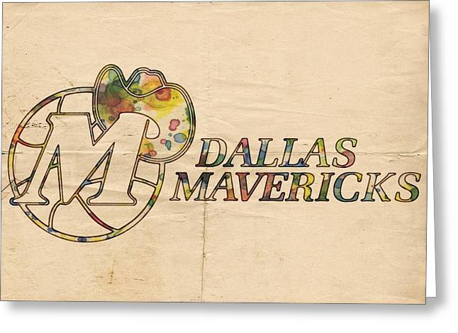 Slamdunk Digital Greeting Cards - Dallas Mavericks Vintage Poster Greeting Card by Florian Rodarte