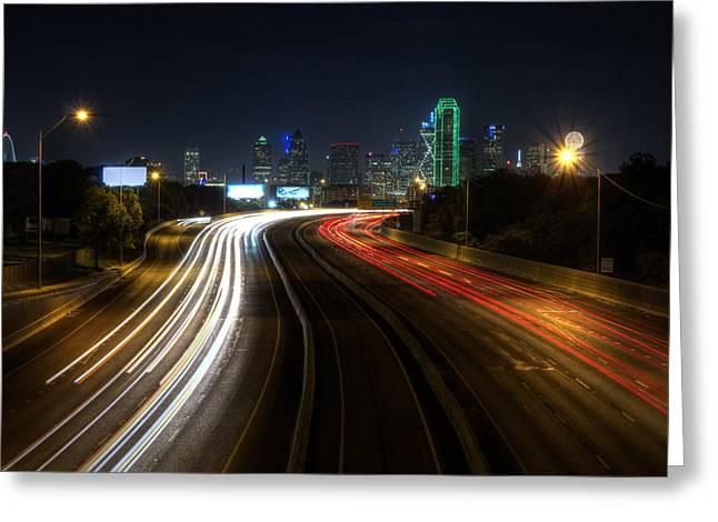 Dallas Night Light Greeting Card by Jonathan Davison