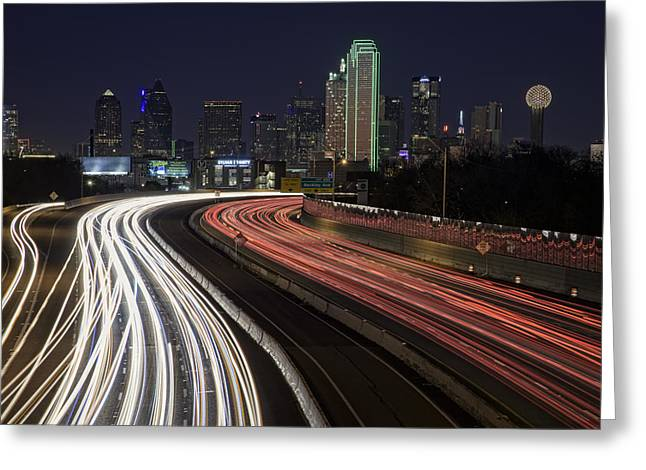 Tx Greeting Cards - Dallas Night Greeting Card by Rick Berk