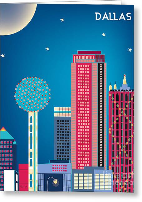 Skyline Print Greeting Cards - Dallas Nightime Skyline Greeting Card by Karen Young