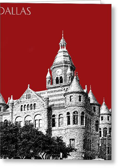 Old City Prints Greeting Cards - Dallas Skyline Old Red Courthouse - Dark Red Greeting Card by DB Artist