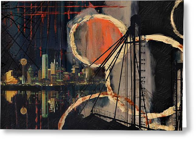 Dallas Paintings Greeting Cards - Dallas Skyline 002 Greeting Card by Corporate Art Task Force