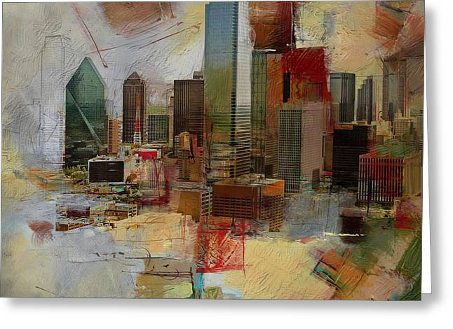 Dallas Paintings Greeting Cards - Dallas Skyline 003 Greeting Card by Corporate Art Task Force