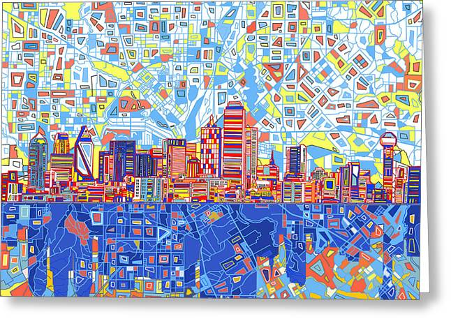 Dallas Skyline Abstract 5 Greeting Card by Bekim Art