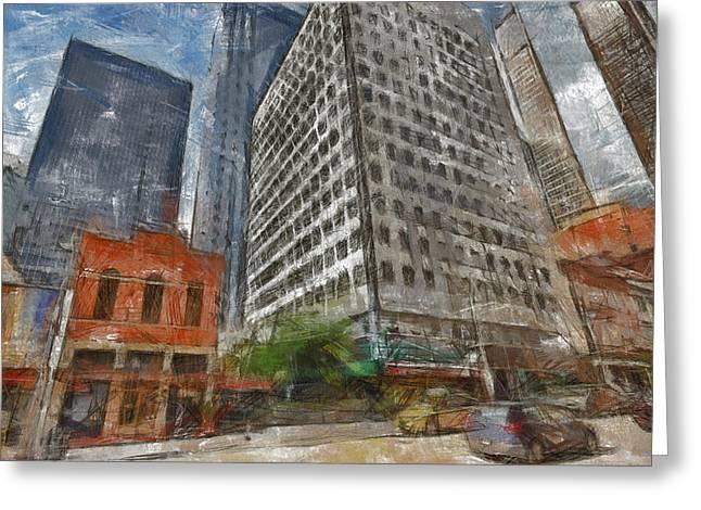 Dallas Skyline Greeting Card by Georgi Dimitrov