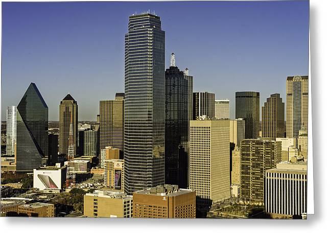 Metroplex Greeting Cards - Dallas Skyline Golden Hour Greeting Card by Jonathan Davison