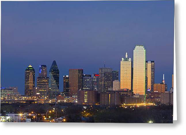 Skyline Photos Greeting Cards - Dallas Skyline Panorama from East of Downtown Greeting Card by Rob Greebon