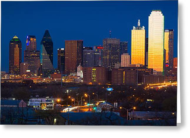 Dallas Photographs Greeting Cards - Dallas Skyline Panorama Greeting Card by Inge Johnsson