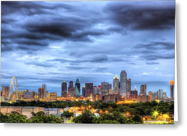 Ranger Greeting Cards - Dallas Skyline Greeting Card by Shawn Everhart